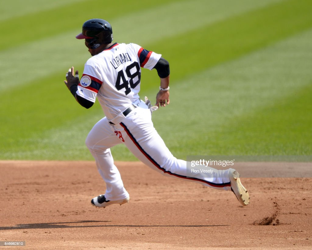 Rymer Liriano #48 of the Chicago White Sox runs the bases against the San Francisco Giants on September 10, 2017 at Guaranteed Rate Field in Chicago, Illinois. The White Sox defeated the Giants 8-1.