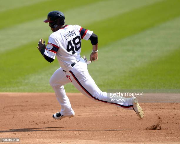 Rymer Liriano of the Chicago White Sox runs the bases against the San Francisco Giants on September 10 2017 at Guaranteed Rate Field in Chicago...