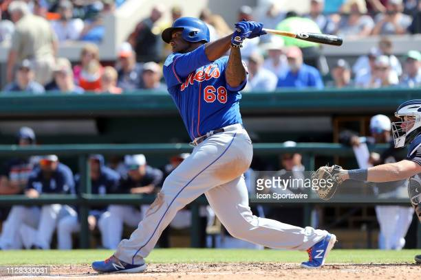 Rymer Liriano of the Mets at bat during the spring training game between the New York Mets and the Detroit Tigers on March 01 2019 at Joker Marchant...