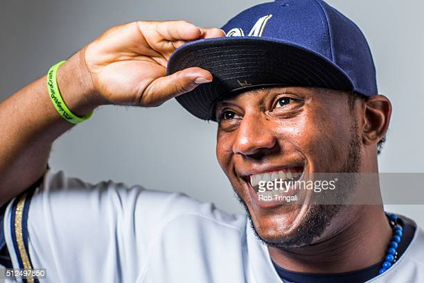 Rymer Liriano of the Milwaukee Brewers poses during photo day at the Maryvale sports complex on February 26 2016 in Maryvale Arizona