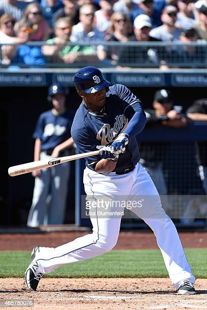 Rymer Liriano of the San Diego Padres bats against the Chicago White Sox at Peoria Stadium on March 6 2015 in Peoria Arizona