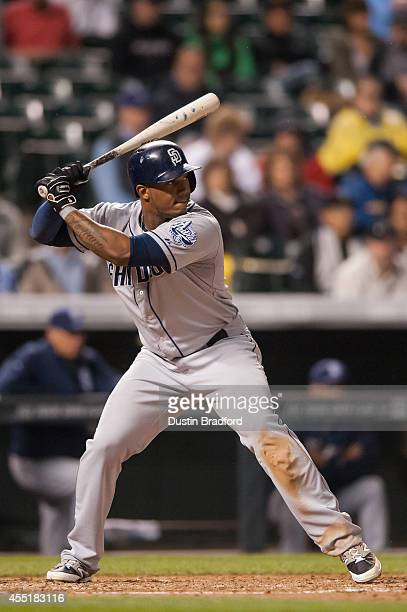 Rymer Liriano of the San Diego Padres bats against the Colorado Rockies during a game at Coors Field on September 5 2014 in Denver Colorado