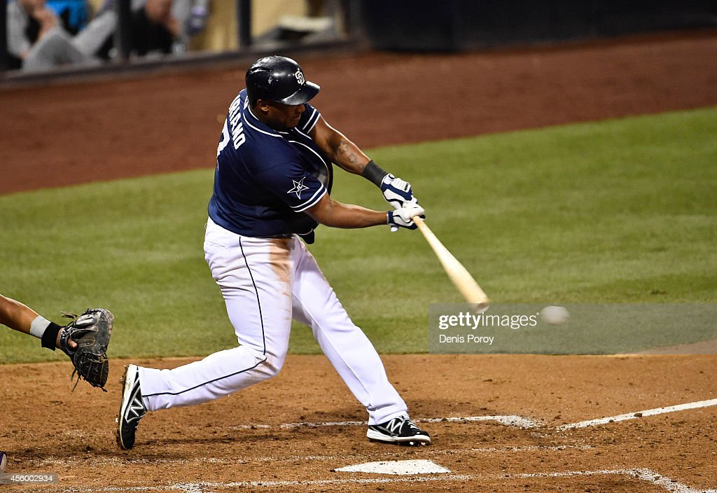 Rymer Liriano #7 of the San Diego Padres hits an RBI single during the sixth inning of a baseball game against the Colorado Rockies at Petco Park September, 23, 2014 in San Diego, California.