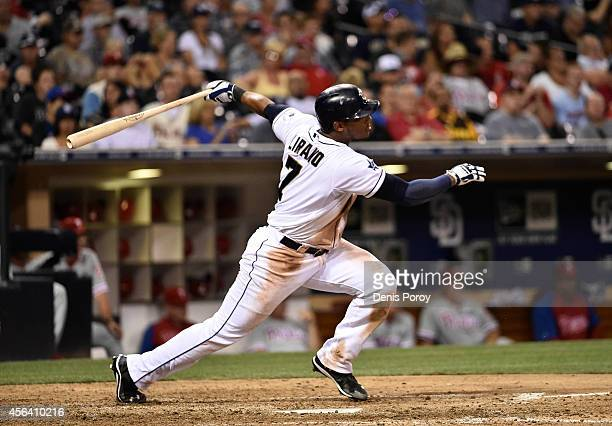 Rymer Liriano of the San Diego Padres plays during a baseball game against the Philadelphia Phillies at Petco Park September 16 2014 in San Diego...
