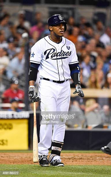 Rymer Liriano of the San Diego Padres plays during a baseball game against the Colorado Rockies at Petco Park August 11 2014 in San Diego California