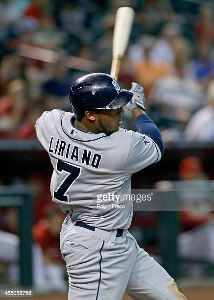 Rymer Liriano of the San Diego Padres swings at a pitch against the Arizona Diamondbacks during the fifth inning of a MLB game at Chase Field on...