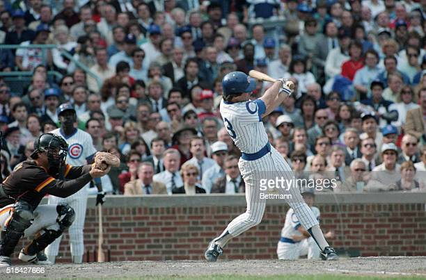 Ryne Sandberg 2nd baseman for the Chicago Cubs batting in the second game of the National League Playoffs