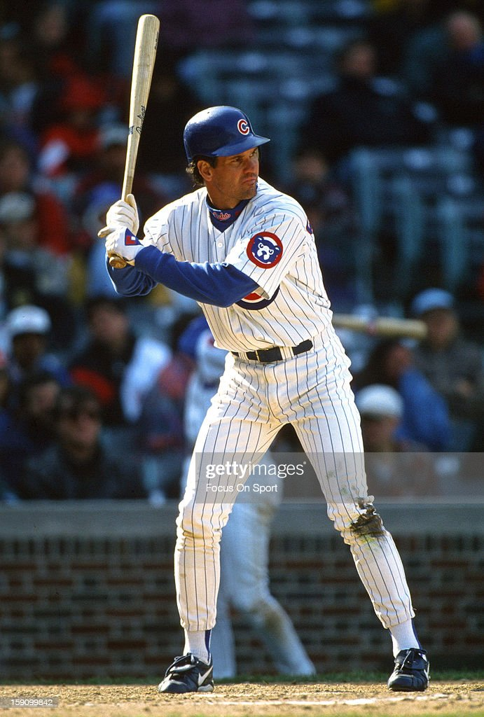 Ryne Sandberg #23 of the Chicago Cubs bats during an Major League Baseball game circa 1996 at Wrigley Field in Chicago, Illinois. Sandberg played for the Cubs from 1982-94 & 1996-97