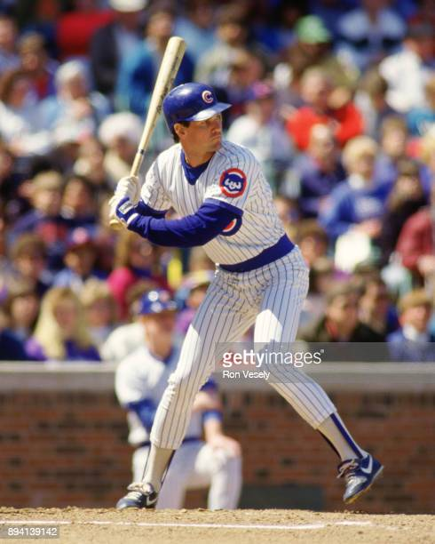 Ryne Sandberg of the Chicago Cubs bats during an MLB game at Wrigley Field in Chicago Illinois during the 1986 season