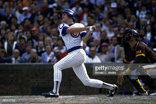 Ryne Sandberg of the Chicago Cubs batting during Game 2 of the 1984 National League Championship Series against the San Diego Padres on October 3...