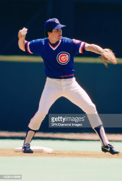 Ryne Sandberg of the Chicago Cubs in the field during a game from his 1984 season with the Chicago Cubs Ryne Sandberg played for 16 years with 2...