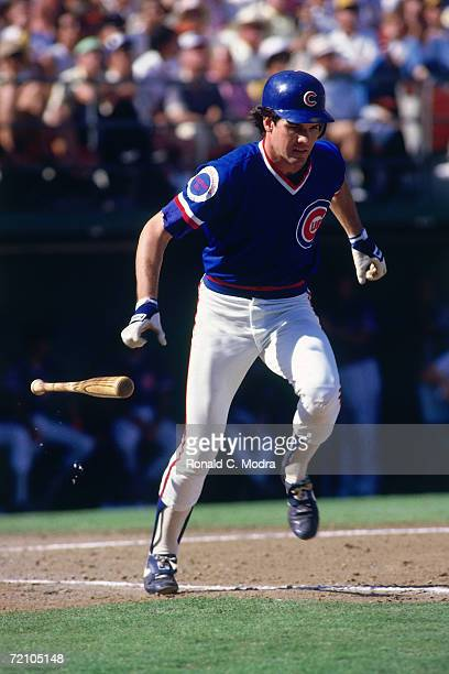 Ryne Sandberg of the Chicago Cubs runs to first base during the National League Championship Series against the San Diego Padres in Wrigley Field in...