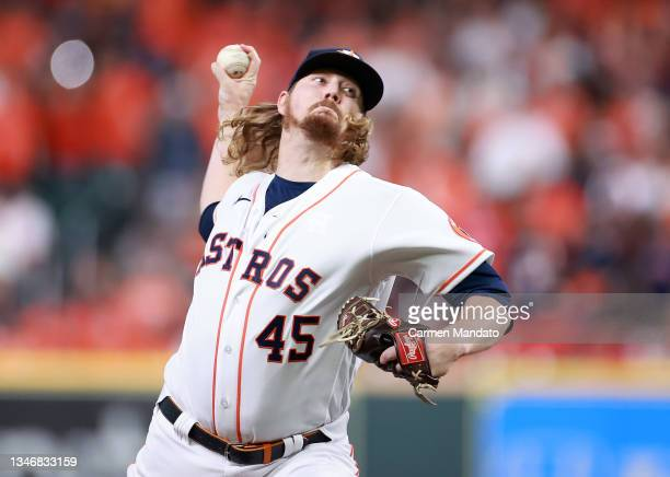 Ryne Stanek of the Houston Astros pitches against the Boston Red Sox in the seventh inning during Game One of the American League Championship Series...
