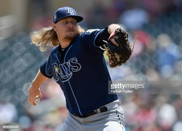 Ryne Stanek of the Tampa Bay Rays delivers a pitch against the Minnesota Twins during the first inning of the game on July 15 2018 at Target Field in...