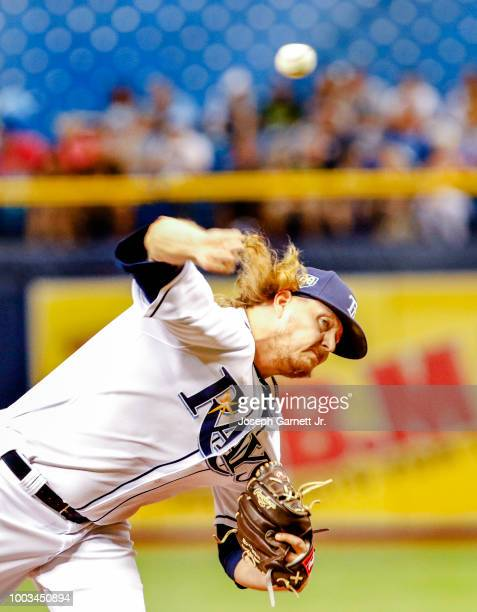Pablo Lopez of the Miami Marlins delivers a pitch during the game against the Tampa Bay Rays at Tropicana Field on July 21 2017 in St Petersburg...