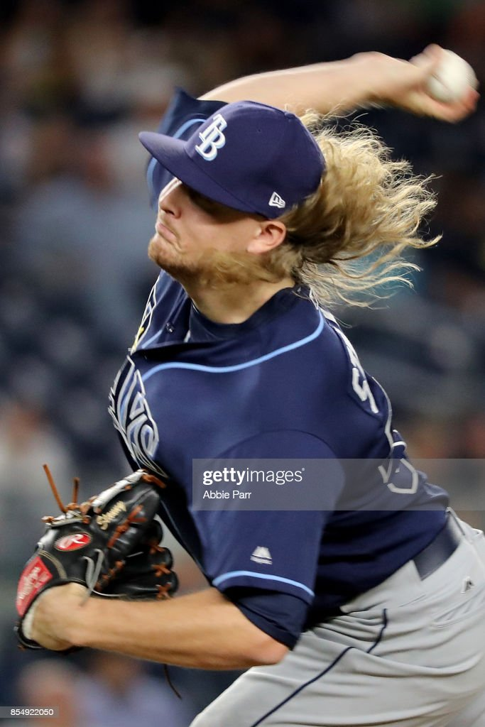 Ryne Stanek #59 of the Tampa Bay Rays pitches during the seventh inning against the New York Yankees at Yankee Stadium on September 27, 2017 in the Bronx borough of New York City.