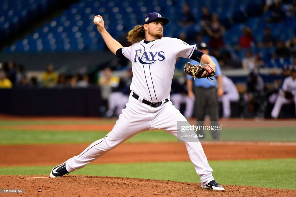 Ryne Stanek #55 of the Tampa Bay Rays throws a pitch in the ninth inning against the Boston Red Sox on May 23, 2018 at Tropicana Field in St Petersburg, Florida. The Red Sox won 4-1.