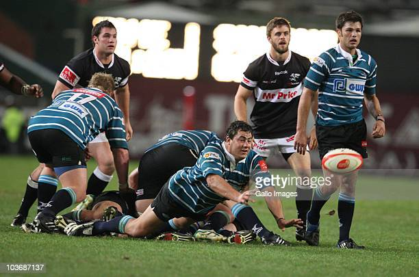 Ryno Barnes with a dive pass during the Absa Currie Cup match between the Sharks and GWK Griquas at Absa Stadium on August 27: 2010 in Durban, South...