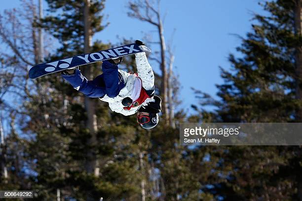 Ryo Aono of Japan competes to a first place finish in the Men's Halfpipe Final at the 2016 U.S. Snowboarding Grand Prix at Mammoth Mountain Resort on...
