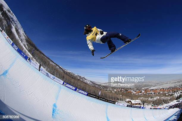 Ryo Aono of Japan in action en route to second place finish in the men's FIS Snowboard World Cup at the 2016 US Snowboarding Park City Grand Prix on...