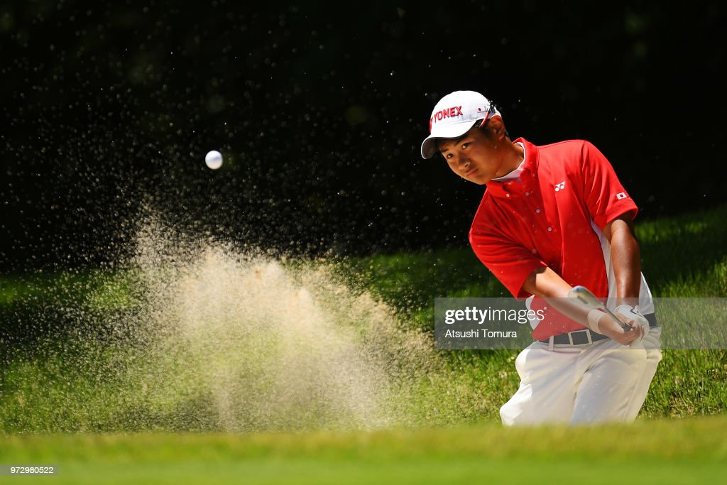 Ryo Hisatsune of Japan hits from a bunker on the 16th hole during the second round of the Toyota Junior Golf World Cup at Chukyo Golf Club on June 13, 2018 in Toyota, Aichi, Japan.
