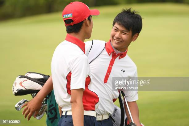 Ryo Hisatsune of Japan smiles during the third round of the Toyota Junior Golf World Cup at Chukyo Golf Club on June 14 2018 in Toyota Aichi Japan