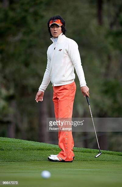 Ryo Ishikawa of Japan attempts a putt on the eight green during a practice round for the AT&T Pebble Beach National Pro-Am at the Spyglass Hill Golf...
