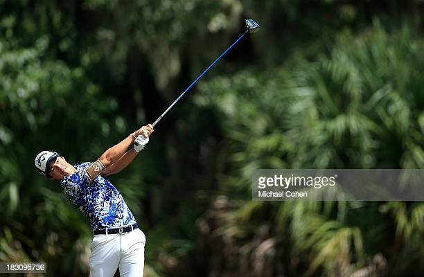 Ryo Ishikawa of Japan hits a drive during the final round of the Webcom Tour Championship held on the Dye's Valley Course at TPC Sawgrass on...