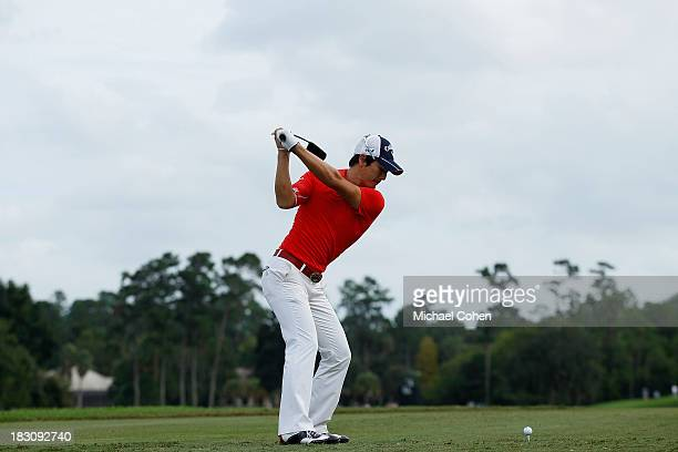Ryo Ishikawa of Japan hits a drive during the third round of the Webcom Tour Championship held on the Dye's Valley Course at TPC Sawgrass on...