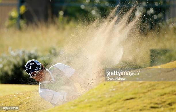 Ryo Ishikawa of Japan hits a fairway bunker shot on the tenth hole during the second round of the Shriners Hospitals for Children Open at TPC...