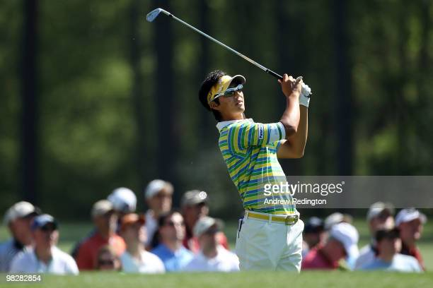 Ryo Ishikawa of Japan hits a shot during a practice round prior to the 2010 Masters Tournament at Augusta National Golf Club on April 6, 2010 in...