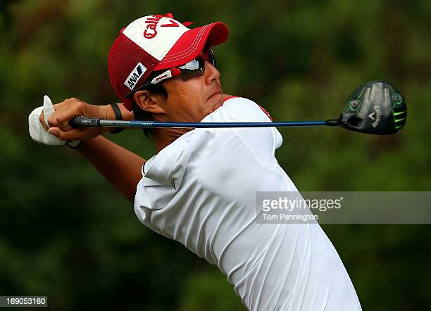 Ryo Ishikawa of Japan hits a shot during the final round of the 2013 HP Byron Nelson Championship at the TPC Four Seasons Resort on May 19 2013 in...