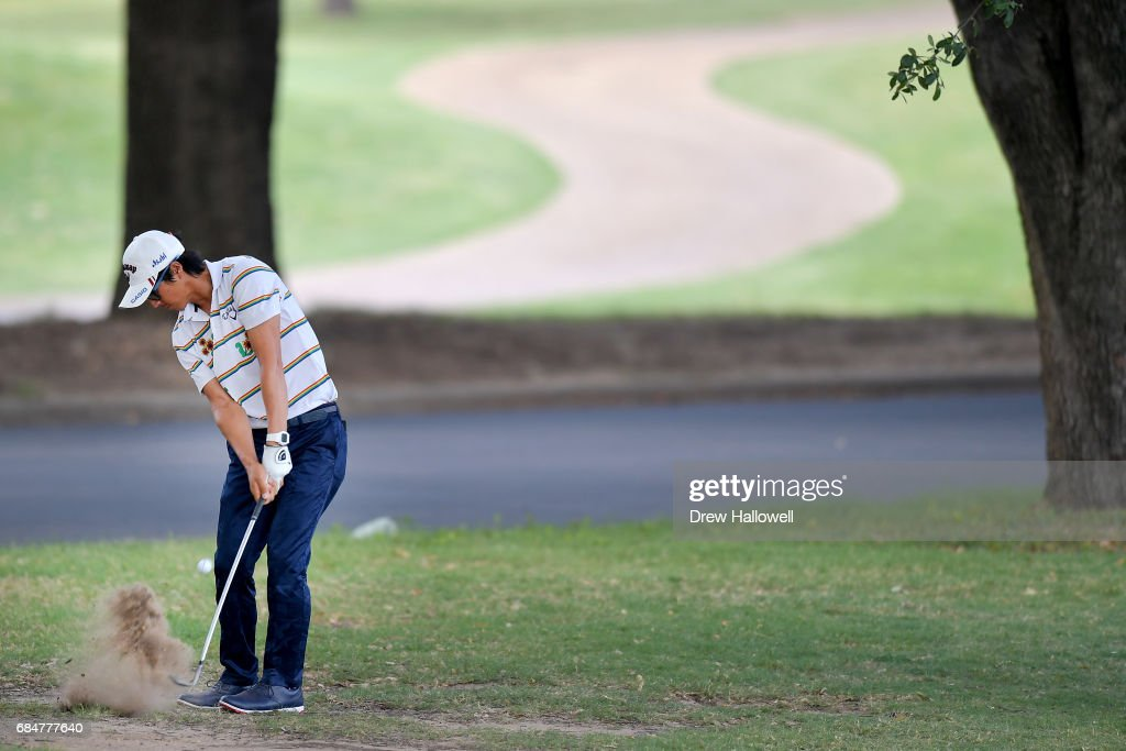 Ryo Ishikawa of Japan hits a shot on the 11th hole during Round One of the AT&T Byron Nelson at the TPC Four Seasons Resort Las Colinas on May 18, 2017 in Irving, Texas.
