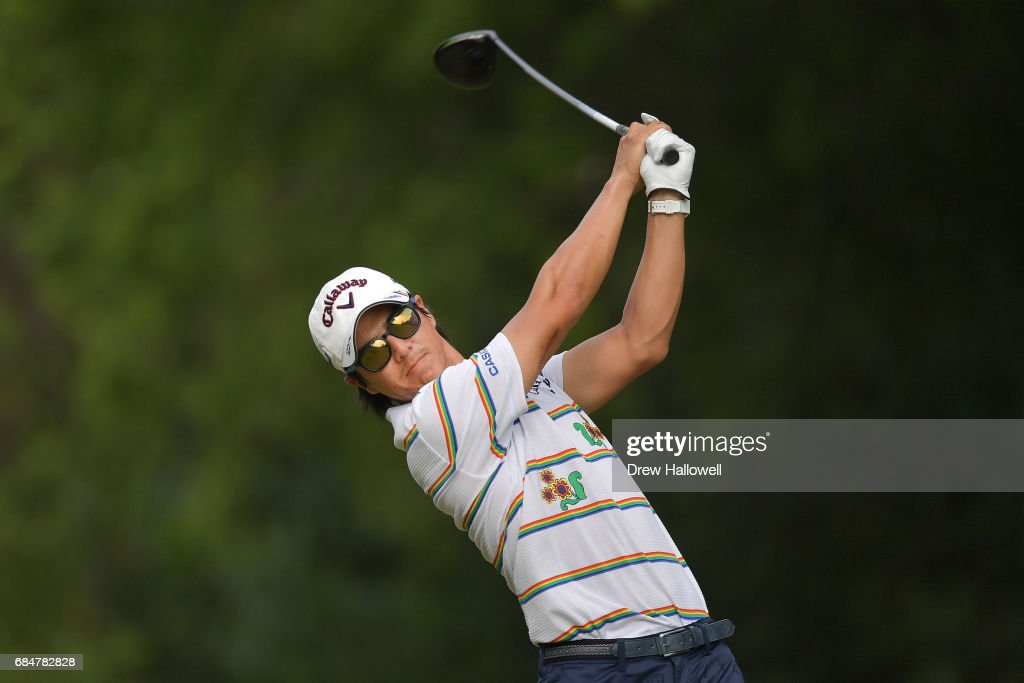 Ryo Ishikawa of Japan hits a shot on the 15th tee during Round One of the AT&T Byron Nelson at the TPC Four Seasons Resort Las Colinas on May 18, 2017 in Irving, Texas.