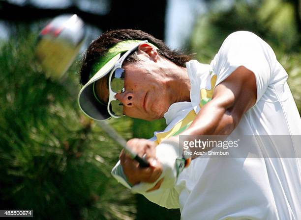 Ryo Ishikawa of Japan hits a tee shot during the first round of the Vana H Cup KBC Augusta at Keya Golf Club on August 27 2009 in Shima Fukuoka Japan