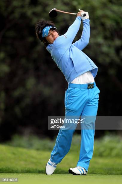 Ryo Ishikawa of Japan hits a tee shot on the 12th hole during the first round of the Northern Trust Open at Riviera Country Club on February 4, 2010...