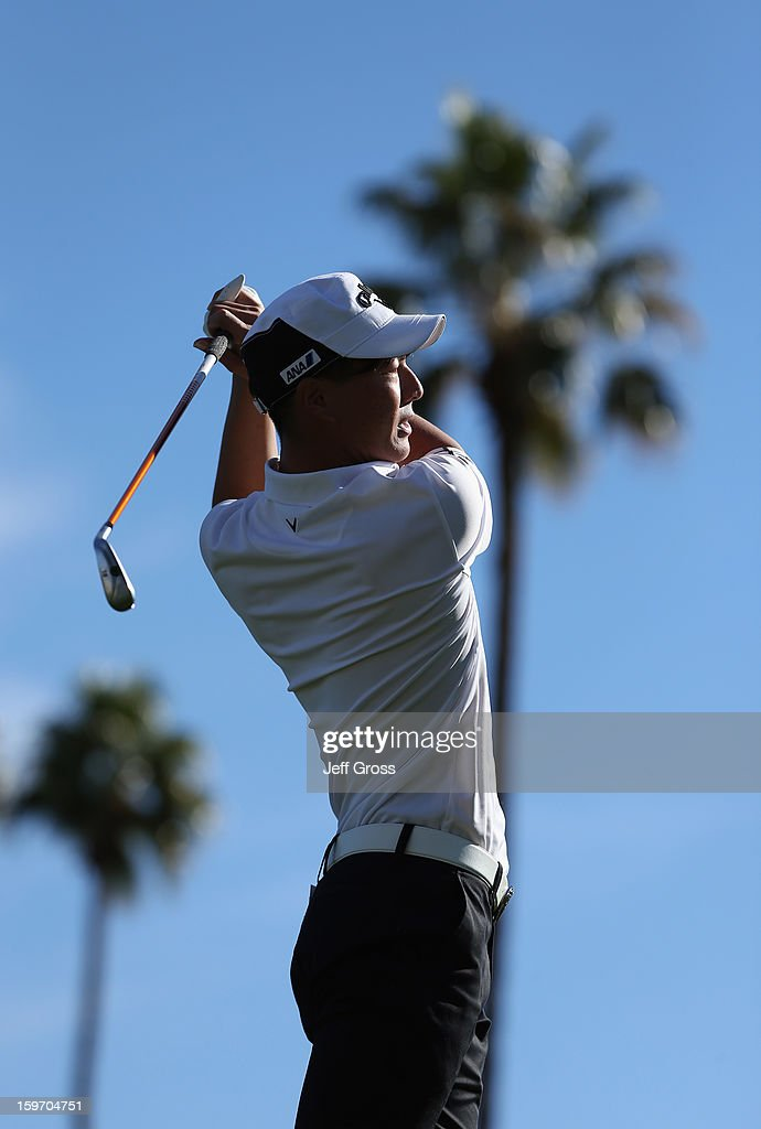 Ryo Ishikawa of Japan hits a tee shot on the 16th hole during the second round of the Humana Challenge In Partnership With The Clinton Foundation at La Quinta Country Club on January 18, 2013 in La Quinta, California.