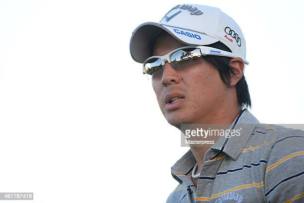 Ryo Ishikawa of Japan hits a tee shot on the 18th hole during round one of the Sony Open in Hawaii at Waialae Country Club on January 9 2014 in...