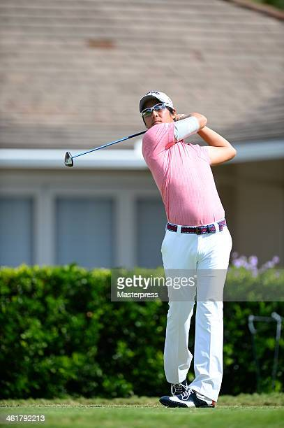 Ryo Ishikawa of Japan hits a tee shot on the 3rd hole during round two of the Sony Open in Hawaii at Waialae Country Club on January 10 2014 in...