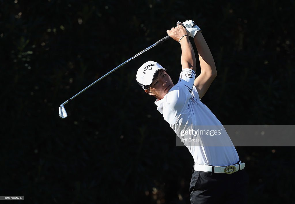 Ryo Ishikawa of Japan hits an errant tee shot on the 15th hole during the second round of the Humana Challenge In Partnership With The Clinton Foundation at La Quinta Country Club on January 18, 2013 in La Quinta, California.