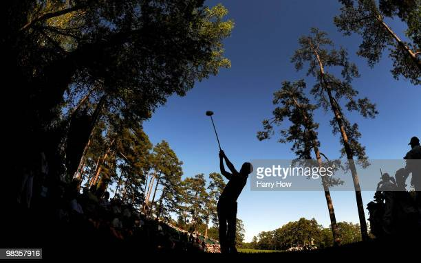 Ryo Ishikawa of Japan hits his tee shot on the 14th hole during the second round of the 2010 Masters Tournament at Augusta National Golf Club on...
