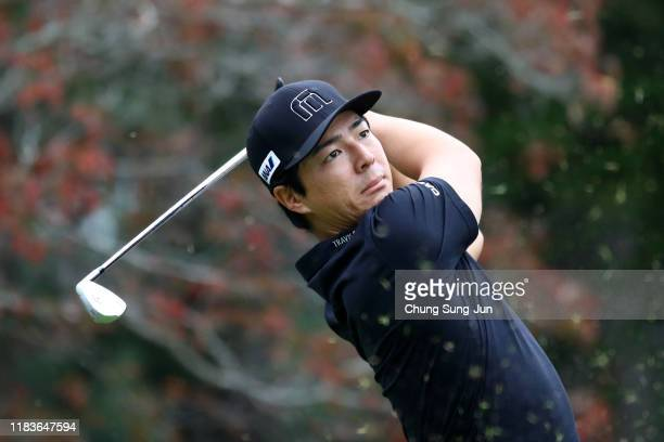 Ryo Ishikawa of Japan hits his tee shot on the 3rd hole during the third round of the Zozo Championship at Accordia Golf Narashino Country Club on...