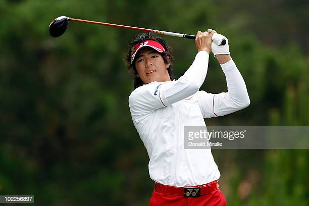 Ryo Ishikawa of Japan hits his tee shot on the second hole during the final round of the 110th U.S. Open at Pebble Beach Golf Links on June 20, 2010...