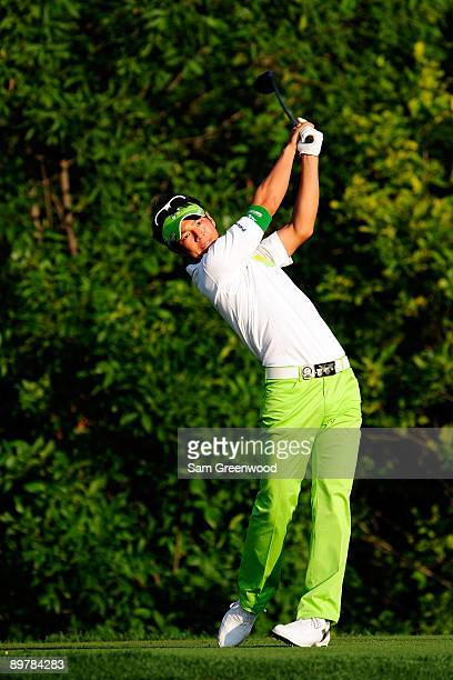 Ryo Ishikawa of Japan hits his tee shot on the tenth hole during the second round of the 91st PGA Championship at Hazeltine National Golf Club on...