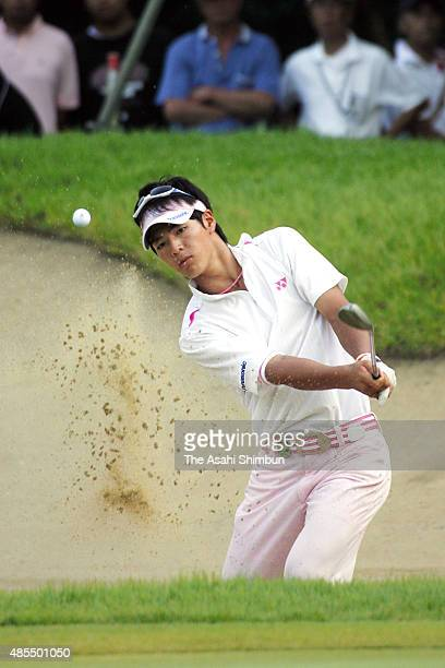 Ryo Ishikawa of Japan hits out from a bunker on the 17th hole during the third round of the Vana H Cup KBC Augusta at Keya Golf Club on August 29...
