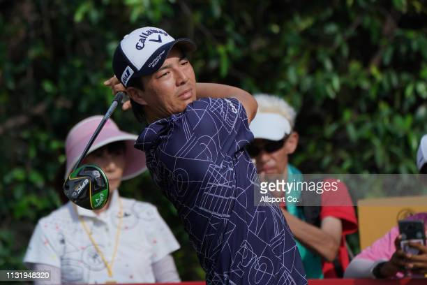 Ryo Ishikawa of Japan in action during Day Two of the Maybank Championship at Saujana Golf and Country Club on March 22, 2019 in Kuala Lumpur,...
