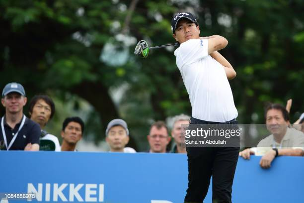 Ryo Ishikawa of Japan in action during round 2 suspended due to heavy showers on day 3 during the SMBC Singapore Open at The Serapong, Sentosa Golf...