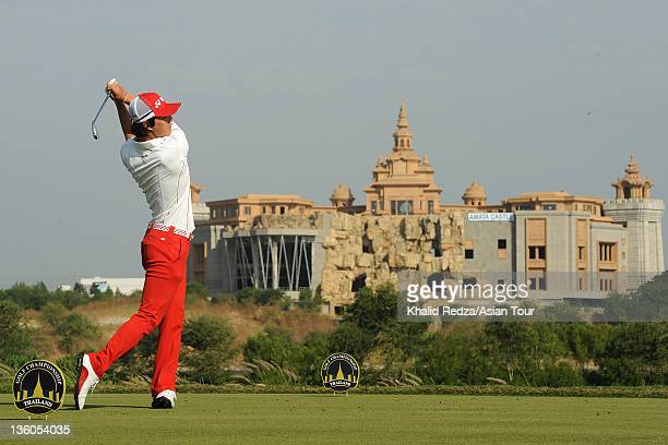 Ryo Ishikawa of Japan in action during the final day of the Thailand Golf Championship at the Amata Spring Country Club on December 18 2011 in...
