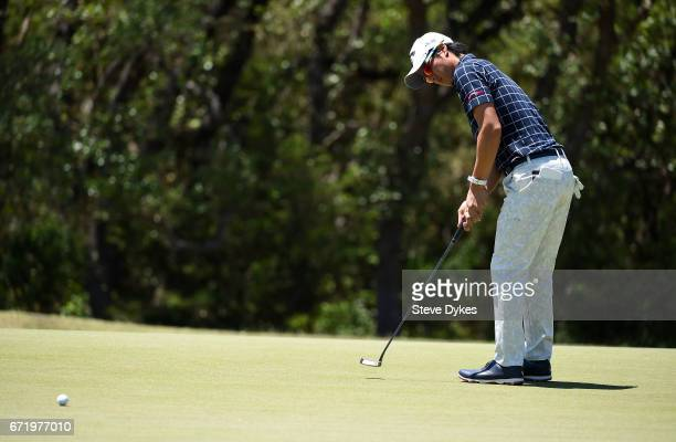 Ryo Ishikawa of Japan in action during the final round of the Valero Texas Open at TPC San Antonio ATT Oaks Course on April 23 2017 in San Antonio...