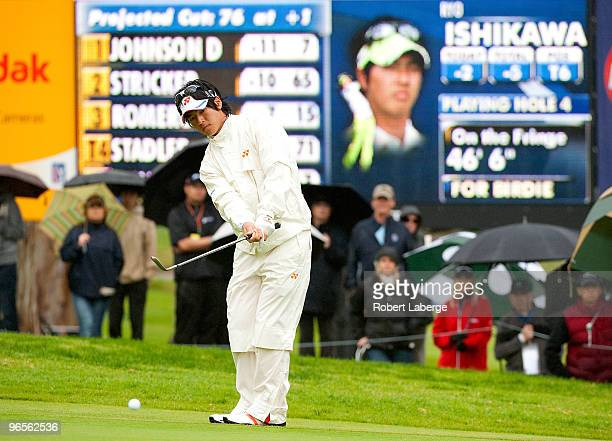 Ryo Ishikawa of Japan makes a chip shot on the fourth hole during the second round of the Northern Trust Open on February 5, 2010 at the Riviera...
